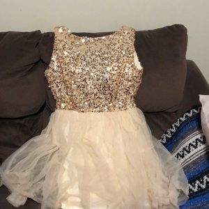 Champagne homecoming/prom dress